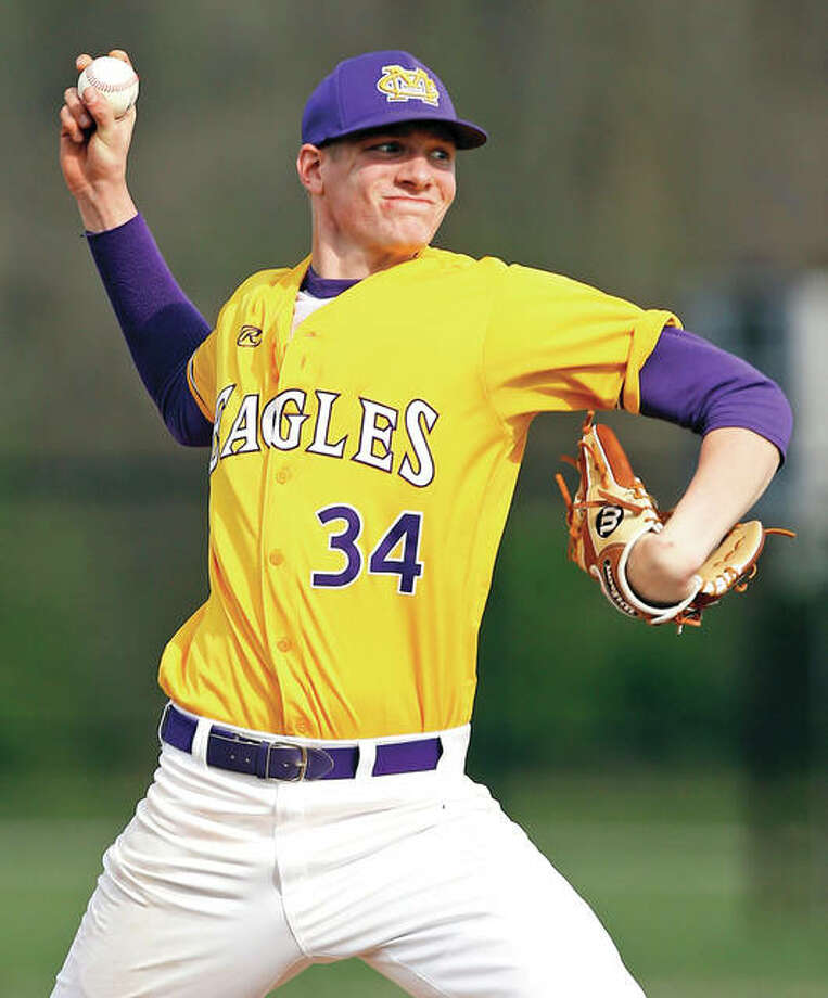 Civic Memorial's Geoffrey Withers, shown pitching against Mascoutah in a game last season in Bethalto, pushed his record to 2-0 with a complete-game effort in the Eagles' win at Mount Vernon on Wednesday. Photo: Billy Hurst / For The Telegraph