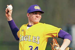 Civic Memorial's Geoffrey Withers, shown pitching against Mascoutah in a game last season in Bethalto, pushed his record to 2-0 with a complete-game effort in the Eagles' win at Mount Vernon on Wednesday.