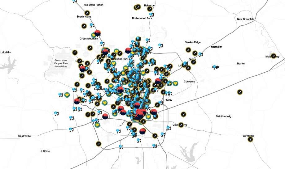 The map shows music venues, businesses, festivals and non-profits across the San Antonio area. Photo: Courtesy/Stan Renard, UTSA Department Of Music