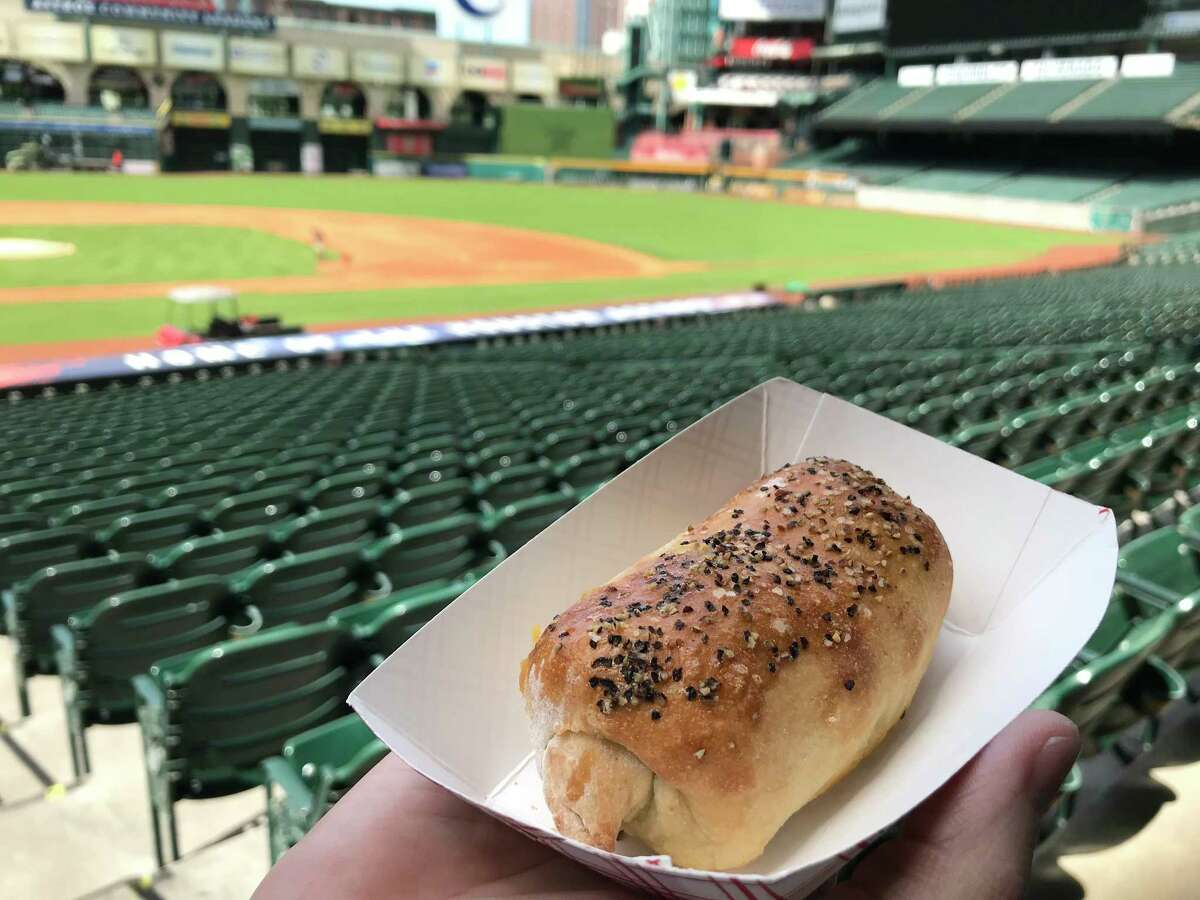 House-made sausage kolache from Jackson Street BBQ's new concession at Minute Maid Park on the Concourse Level, Section 124.