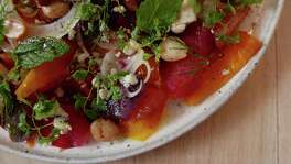 Ms. Julie's Beets from Clementine combines chioggia, golden other kinds of beets with Gorgonzola and herbs.