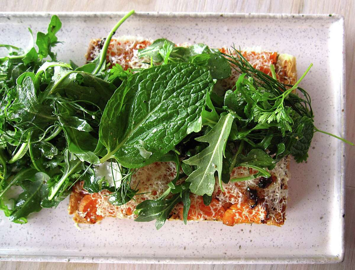 Sweet potato tart with olive tapenade and arugula from the lunch menu at Clementine.