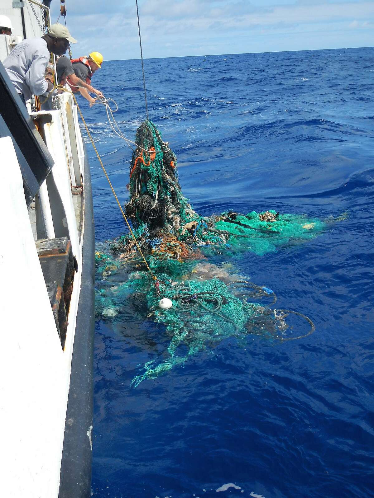 A piece of floating debris snagged during an ocean sampling operation. (Ocean Cleanup)
