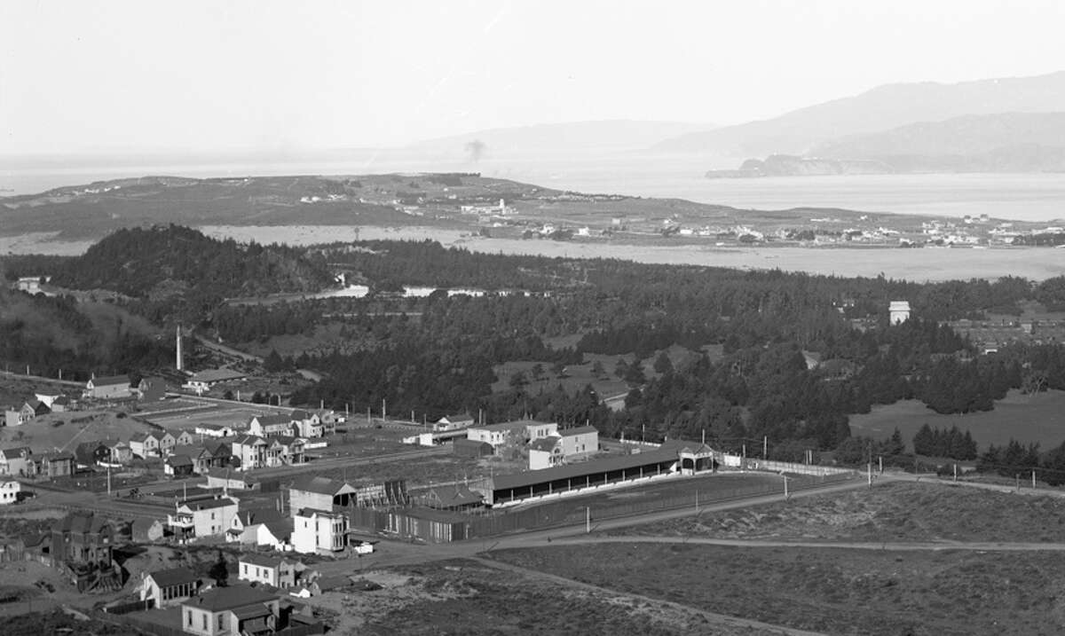 1901: The view from Mount Sutro looking north toward Golden Gate Park and San Francisco Bay.