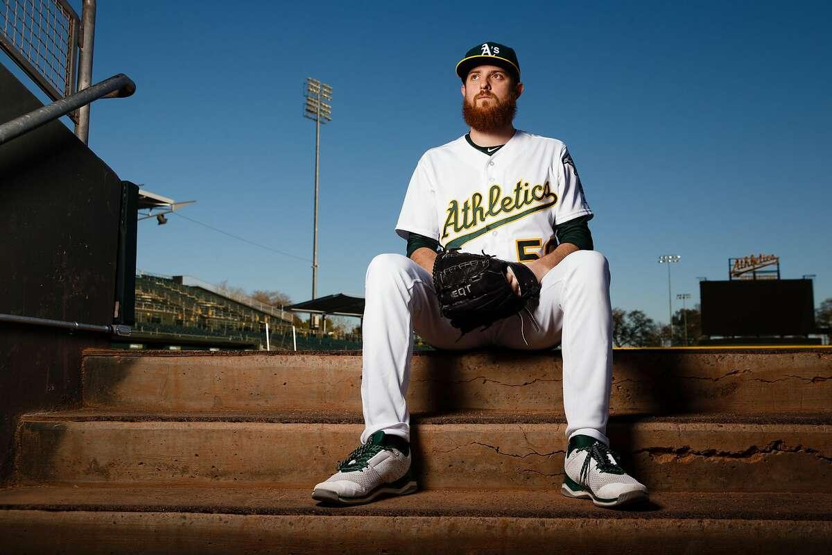 MESA, AZ - FEBRUARY 22: Paul Blackburn #58 of the Oakland Athletics poses for a portrait during photo day at HoHoKam Stadium on February 22, 2018 in Mesa, Arizona. ~~
