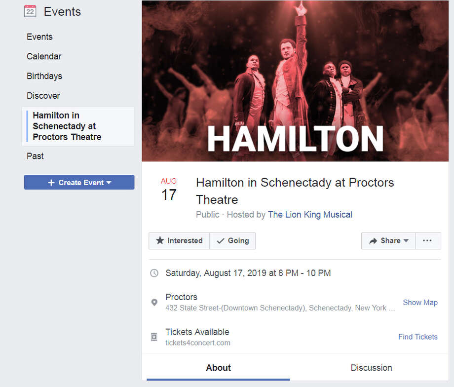 "The scam events page advertising tickets for ""Hamilton"" at Proctors offers a variety of clues  to its illegitimacy including a single performance date – there are actually 16 shows – and a link to a non-Proctors website, tickets4concert.com."