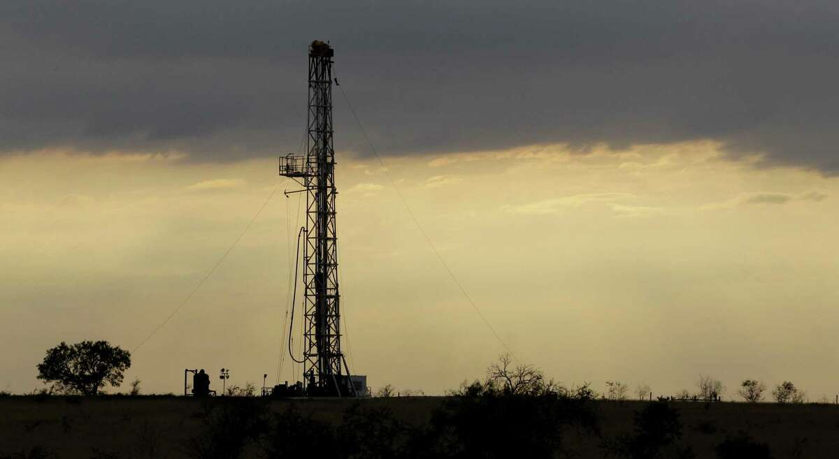A drilling rig is seen in 2012 near Kennedy, Texas.