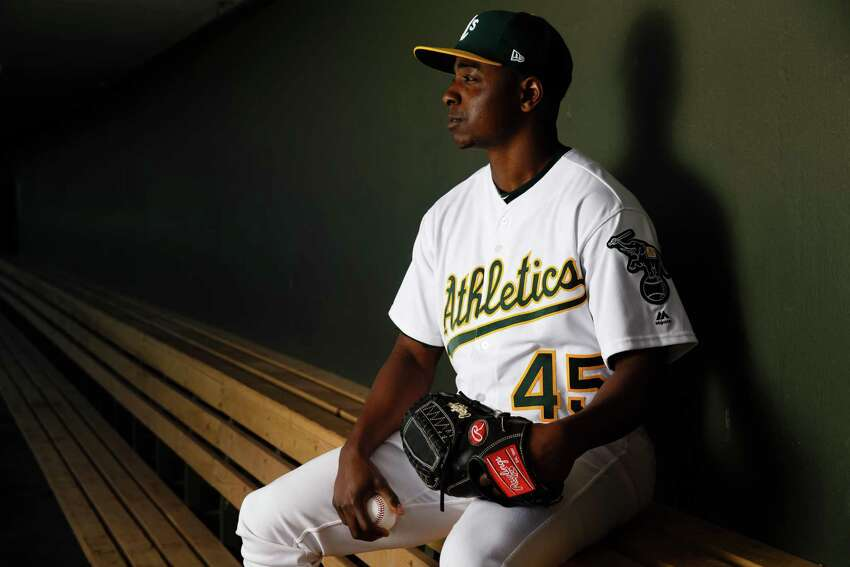 MESA, AZ - FEBRUARY 22: Jharel Cotton #45 of the Oakland Athletics poses for a portrait during photo day at HoHoKam Stadium on February 22, 2018 in Mesa, Arizona. (Photo by Justin Edmonds/Getty Images)