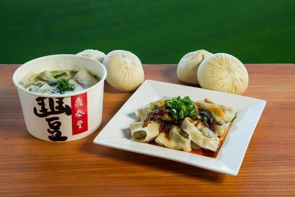 Din Tai Fung wonton soup, spicy wonton, pork and veggie buns