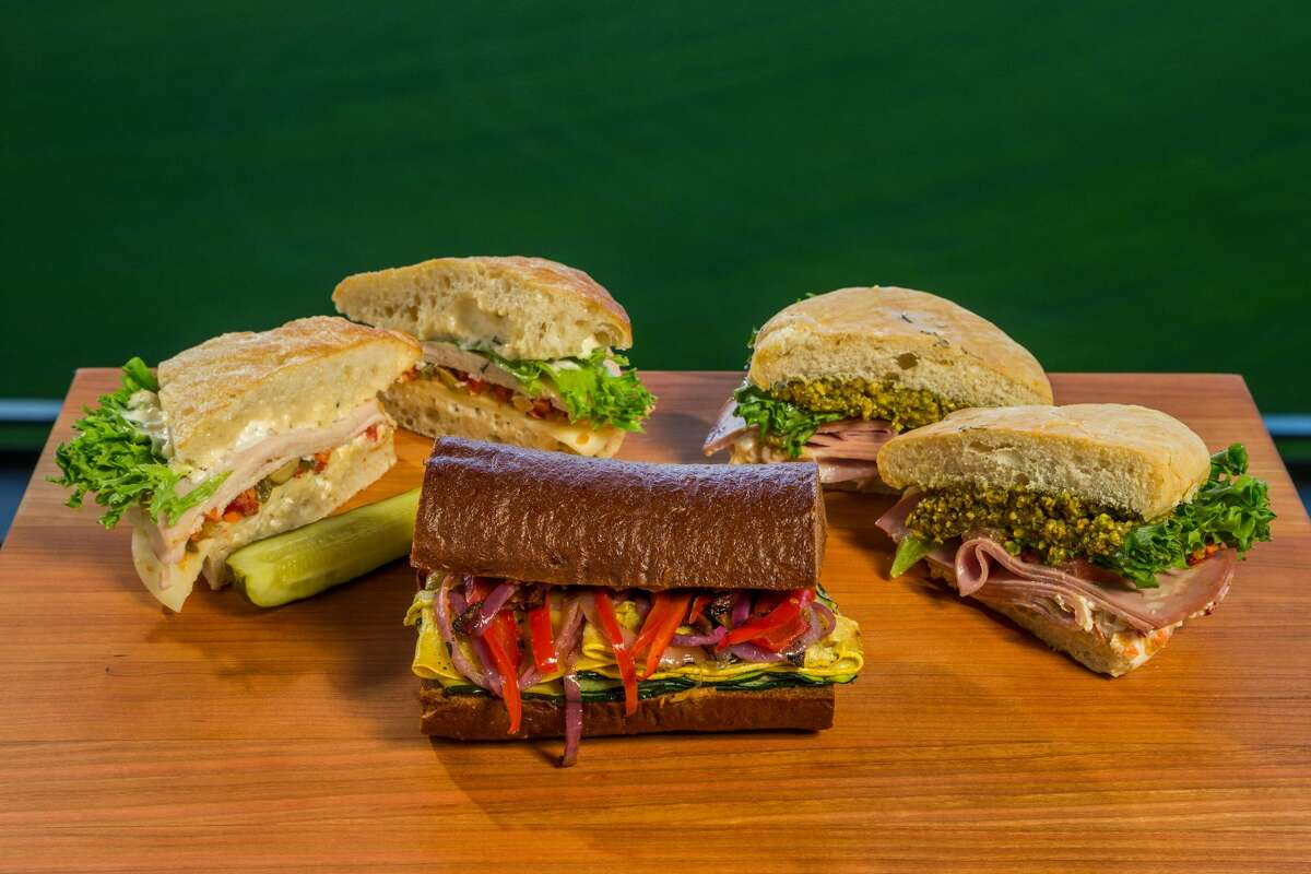 Trattoria turkey provolone, grilled veggies and mortadella sandwich