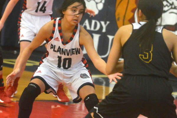 Plainview's Kristan Rincon, 10, plays defense against Amarillo High in a girls' basketball game this past season. The senior point guard was named to the Texas Association of Basketball Coaches (TABC) All-Region team this week. She also has been chosen to play in the Golden Spread All-Star games in Canyon next month.