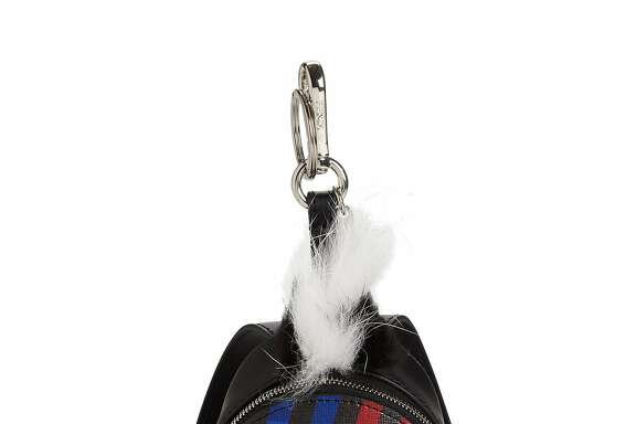 Fendi Faces Wave Fur & Leather Backpack Keychain, $1,050, available at Saks Fifth Avenue