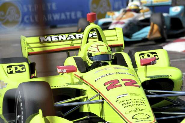 Simon Pagenaud (22) races out of Turn 10 during the IndyCar Firestone Grand Prix of St. Petersburg Sunday, March 11, 2018, in St. Petersburg, Fla. (AP Photo/Jason Behnken)