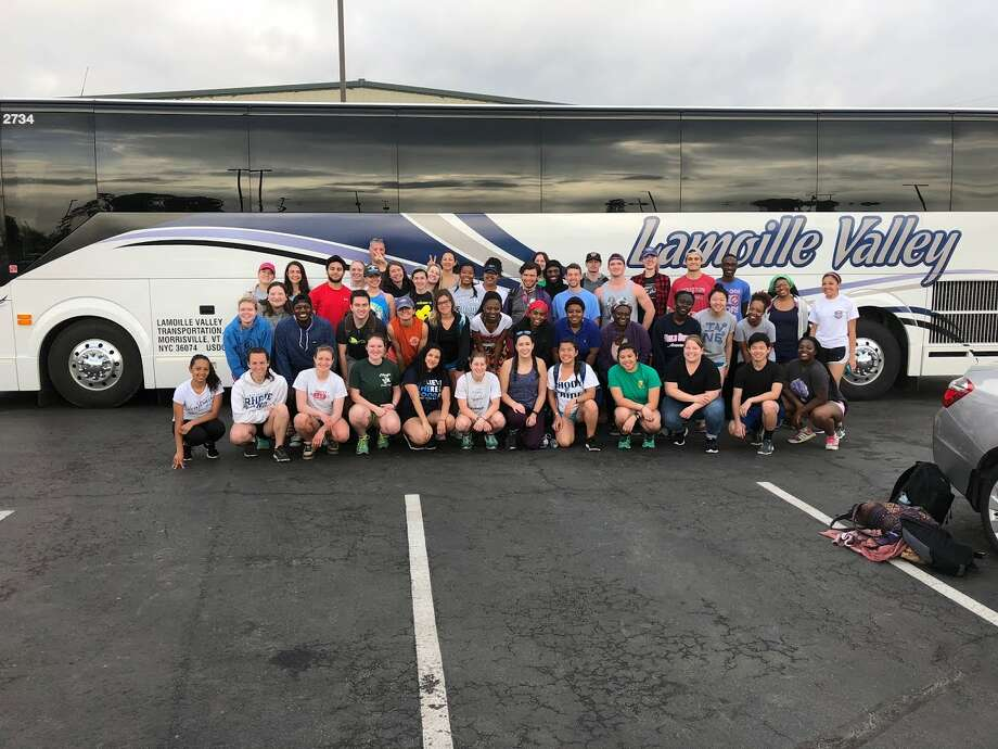 ServeUp volunteers from New England pose in front of the bus that will transport them to sites around the greater Houston area in need of Harvey-related restoration and rebuild efforts. Photo: Courtesy Of David Humphrey, First Baptist Humble