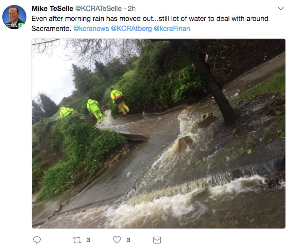 Mike TeSelle of KCRA-TV shared this image of flooding at Iron Point Road in the Sacramento area on March 22, 2018.