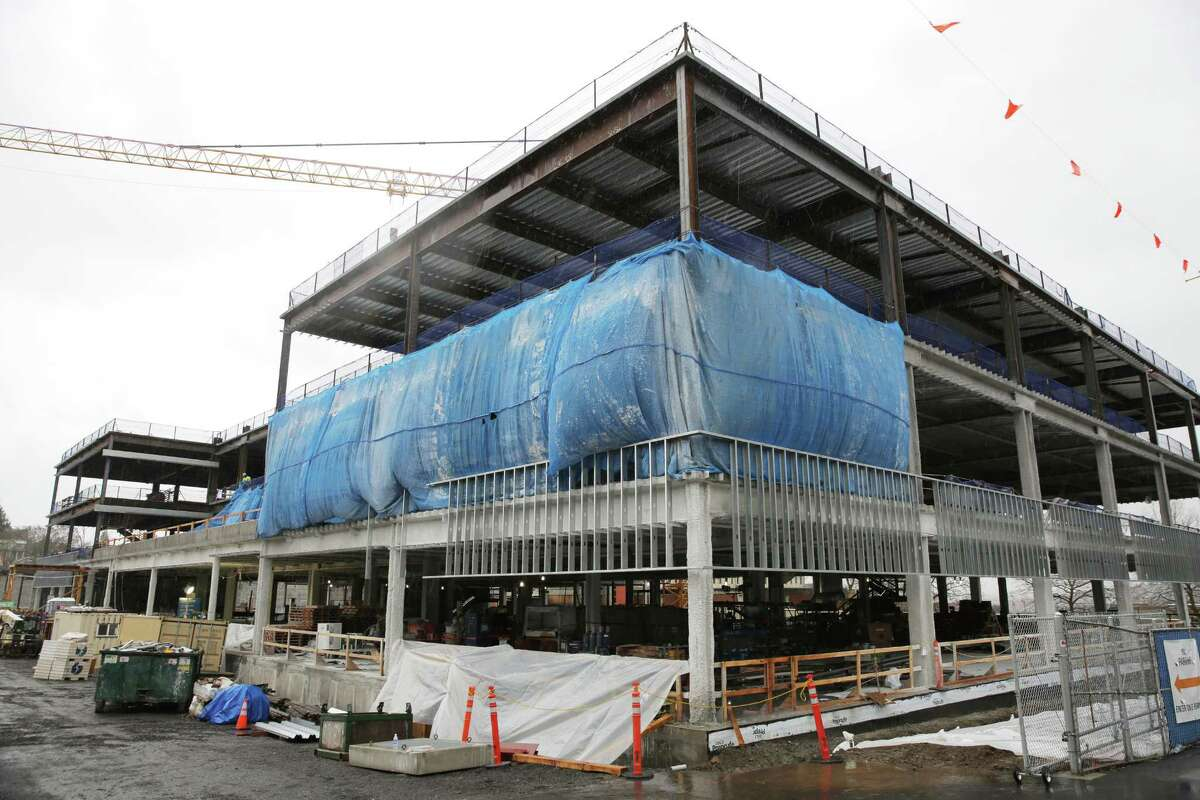 Construction continues on the controversial new King County Juvenile Detention Center building in the Central District, Thursday, March 22, 2018.