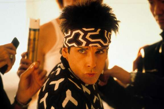 Ben Stiller wearing a headband in a scene from the film 'Zoolander', 2001. (Photo by Paramount Pictures/Getty Images)