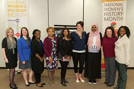 Nine of the 17 SIUE Phenomenal Women selected for 2018 attended the Fourth Annual Phenomenal Women's Luncheon on Wednesday, March 21. Shown from left to right: Jennifer Cline, Elizabeth Stygar, Tarsha Moore, Lakesha Butler, Suman Mishra, Michelle Hudson, Husna Ibrahim, Alison Reeves and Kim Carter.