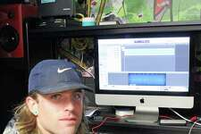 """Steve Ruskay, above, a graduate of Trumbull High School and St. John's University, has opened a recording studio in Fairfield called """"The Booth."""" Below, a look inside the studio."""