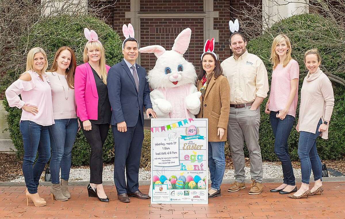 The Young Women's League of New Canaan (YWL) will host the 45th annual Easter Egg Hunt March 24 at Waveny Park. From left: Easter Egg Hunt Chairmen Danielle Verardo and Danielle Kilarjian; Ashley Petraska of Berkshire Hathaway; Willmar Acevedo of Bankwell; Marianne Grandin of AuPair in America; Steve Bloom of Camp Playland; YWL President Maia Sapanski; and YWL VP Marley Thackray.