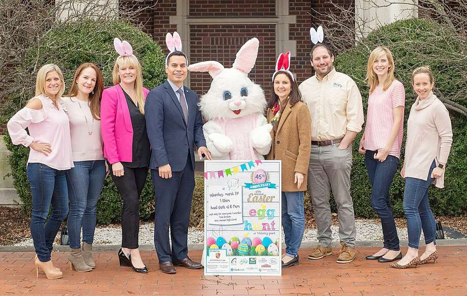 The Young Women's League of New Canaan (YWL) will host the 45th annual Easter Egg Hunt March 24 at Waveny Park. From left: Easter Egg Hunt Chairmen Danielle Verardo and Danielle Kilarjian; Ashley Petraska of Berkshire Hathaway; Willmar Acevedo of Bankwell; Marianne Grandin of AuPair in America; Steve Bloom of Camp Playland; YWL President Maia Sapanski; and YWL VP Marley Thackray. Photo: Contributed Photo / New Canaan News