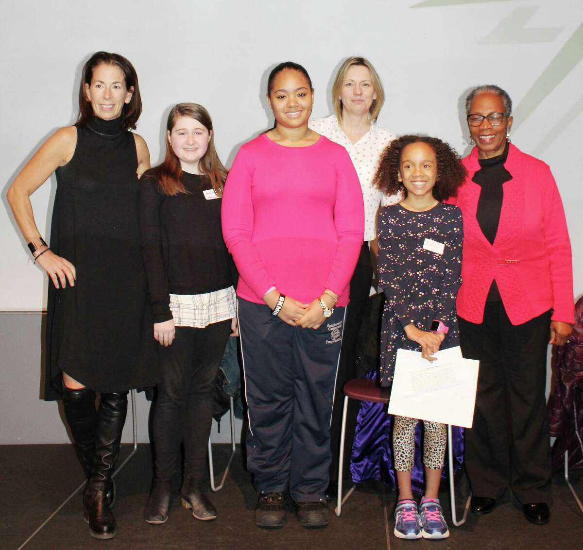 At a March 9 LiveGirl leadership summit, CEOs and company founders pose with the winners of Girl Boss contest. From left: Claire O?'Hare, Audrey Long, Kellie Taylor, Sarah Beach, Zuri Giddings and Cynthia Barnett.