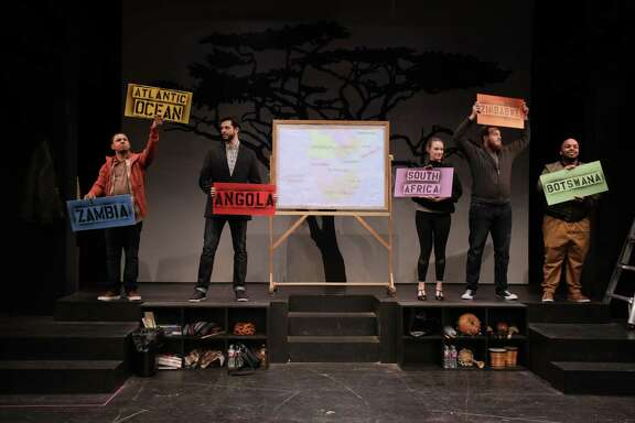 "Joseph ""Joe P."" Palmore, Chasen Parker, Laura Menzie, Aaron Ruiz andCamryn Nunley in Stages Repertory Theatre's production of ""We Are Proud to Present a Presentation About the Herero of Namibia, Formerly Known as South-West Africa From the German Sudwestafrika, Between the Years 1884 - 1915."""
