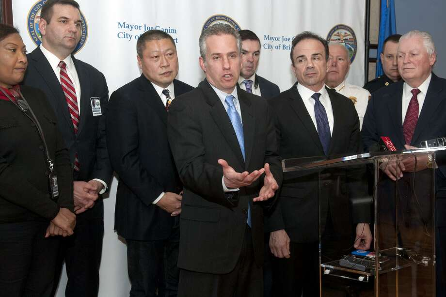 Jeremy Stein, Executive Director of CT Against Gun Violence, speaks at a press conference following a meeting with elected officials, police chiefs and school superintendents of schools from Bridgeport, Fairfield, Trumbull and Stratford, in Bridgeport, Conn. March 22, 2018. The meeting addressed issues concerning school safety and security. Photo: Ned Gerard / Hearst Connecticut Media / Connecticut Post