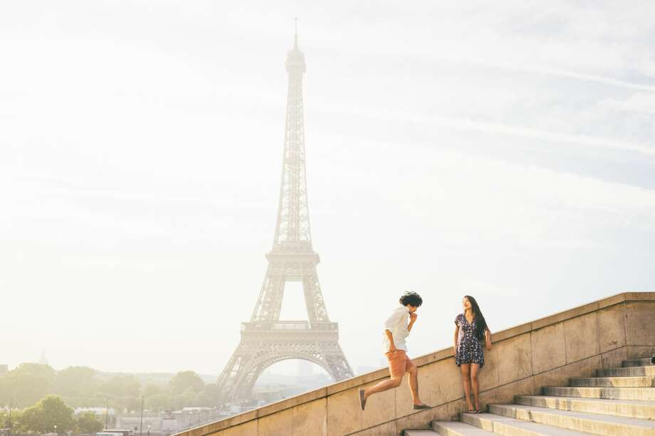 Seeing the Eiffel tower at different, fun angles in the morning. Photo: Jin Chu Ferrer/Getty Images