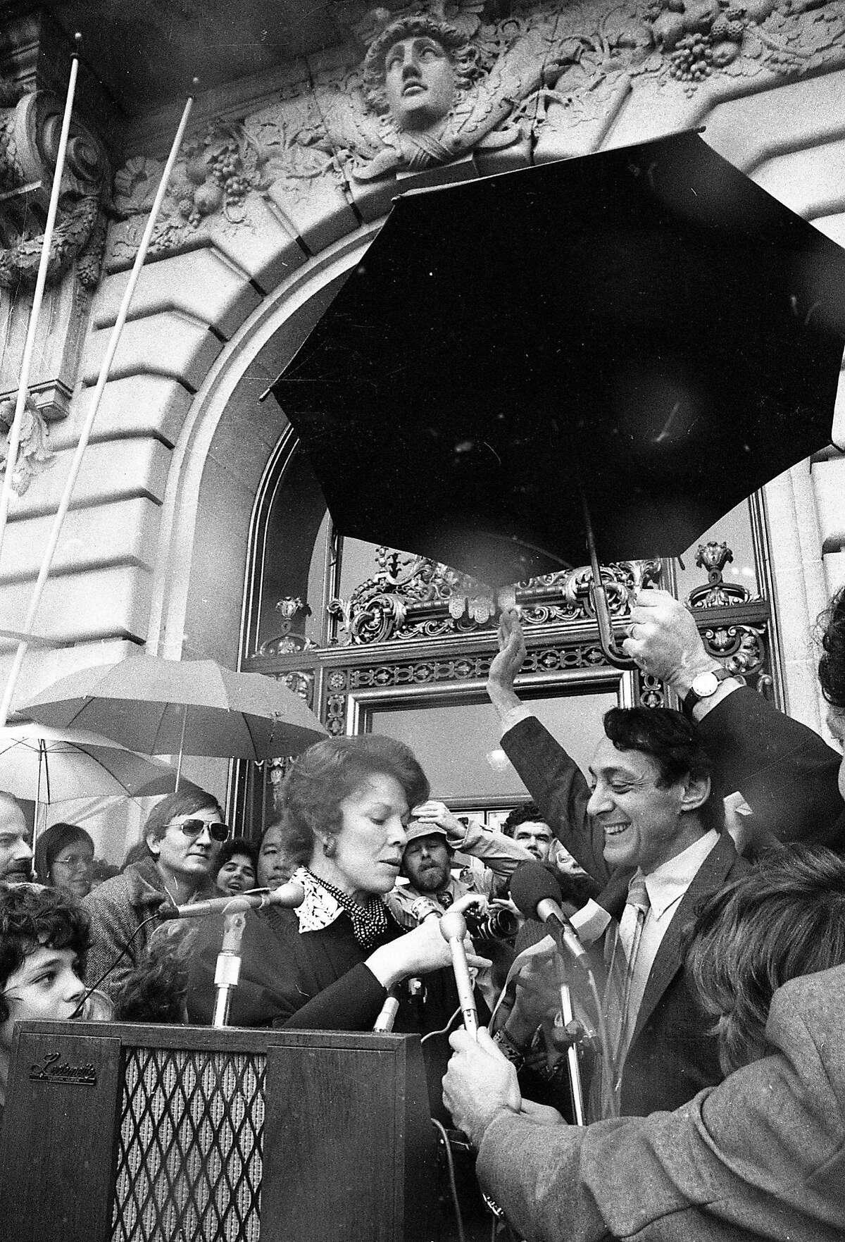 Jan. 9, 1978: San Francisco Supervisor Harvey Milk is sworn in on the City Hall steps.