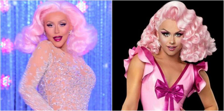 Christina Aguilera, left, and Drag Race Season 9 queen Farrah Moan. Photo: VH1