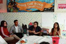 "Students, led by Youth Organizer Alison Martinez-Carrasco, right, take part in a weekly Youth Power Committee meeting at Make the Road CT office on State Street in Bridgeport, Conn., on Friday Mar. 16, 2018. The group of mostly immigrant students, have been speaking out for months at city school board meetings about issues that get in the way of their education. The kids will be holding a press conference called ""Walking Towards a Brighter Future"" on Monday Mar. 26th at City Hall Annex at 999 Broad Street from 4 p.m. to 5 p.m."