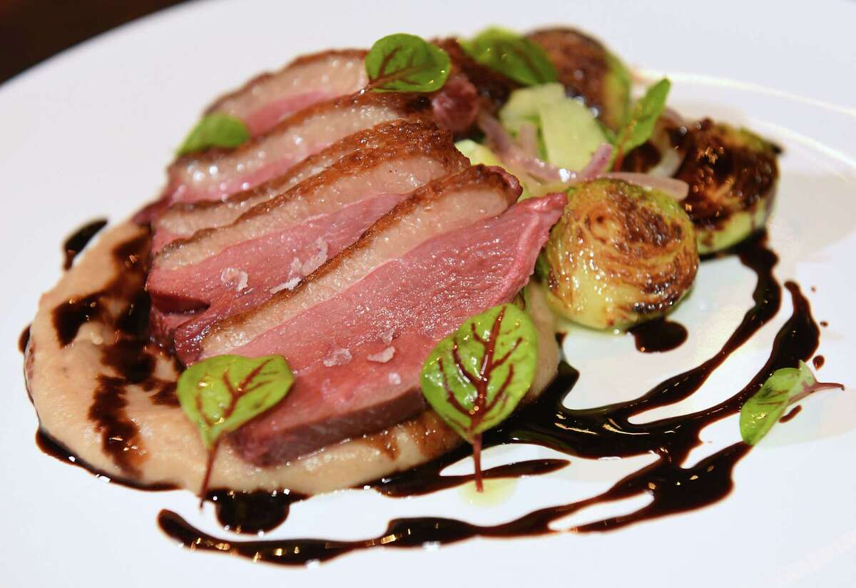Duck and Chocolate, seared duck breast, whipped chestnuts, aged balsamic, brussels sprouts, bittersweet chocolate at Vintage on Wednesday, March 14, 2018 in Albany, N.Y. (Lori Van Buren/Times Union)