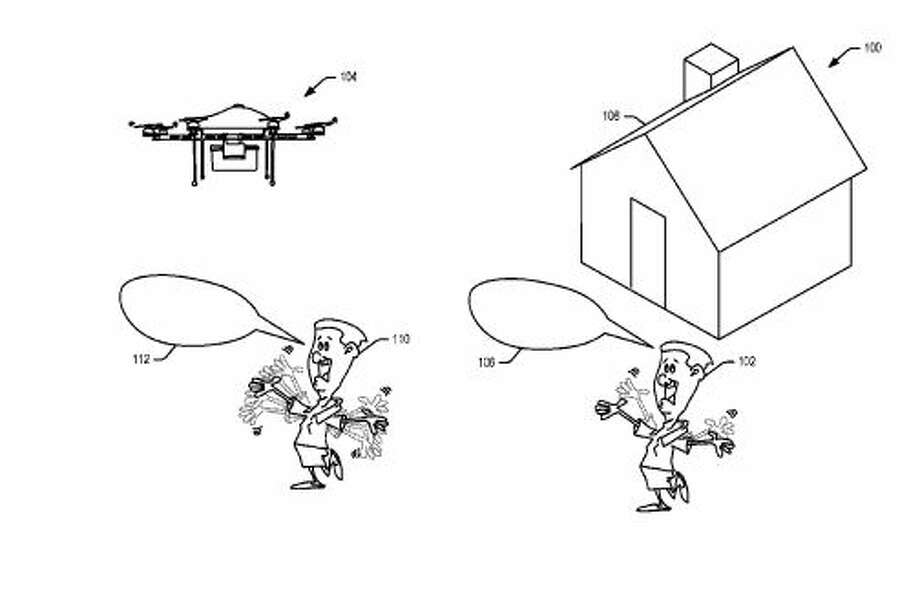 Depending on a person's gestures - a welcoming thumbs up, shouting or frantic arm waving - the drone can adjust its behavior, according to the patent. Photo: US Patent And Trademark Office