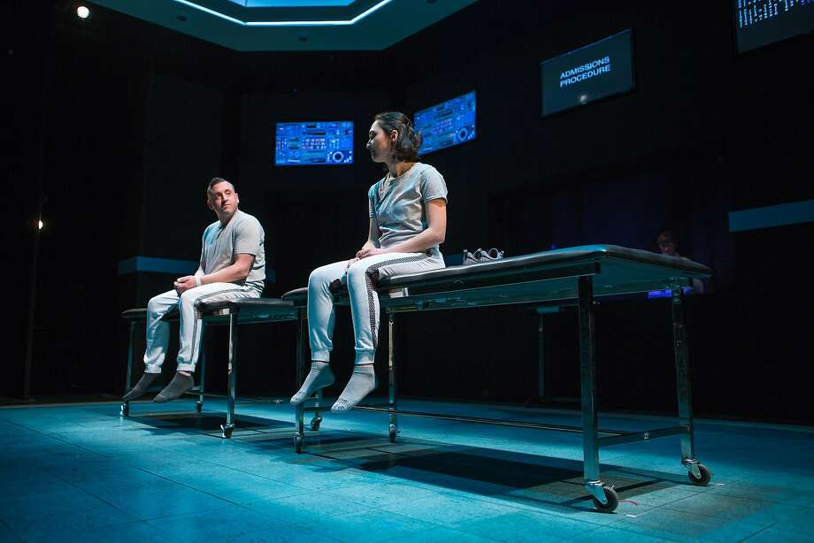 "Tristan Frey (Joe Estlack) and Connie Hall (Ayelet Firstenberg) wait for their clinical trial to begin in ""The Effect"" at San Francisco Playhouse. Photo: Jessica Palopoli, San Francisco Playhouse"