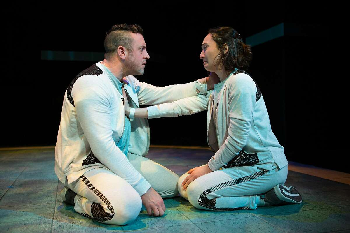 Tristan Frey (Joe Estlack) consoles Connie Hall (Ayelet Firstenberg) during their clinical trial in �The Effect� at San Francisco Playhouse.