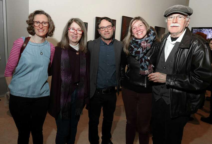 Albany, NY - March 16, 2018 - (Photo by Joe Putrock/Special to the Times Union) - (l to r) Photographer Carrie Will, Sage College of Albany Dean Jean Dahlgren, new media artist, Associate Professor, and director of the Graphic + Media Design program at The Sage Colleges Sean Hovendick, artist Mindy McDaniel and former chair of the Sage College of Albany art department Terry Tiernan during The 40th Annual Photo Regional: Effects That Aren?'t Special opening reception at the Opalka Gallery on the Sage College of Albany campus.