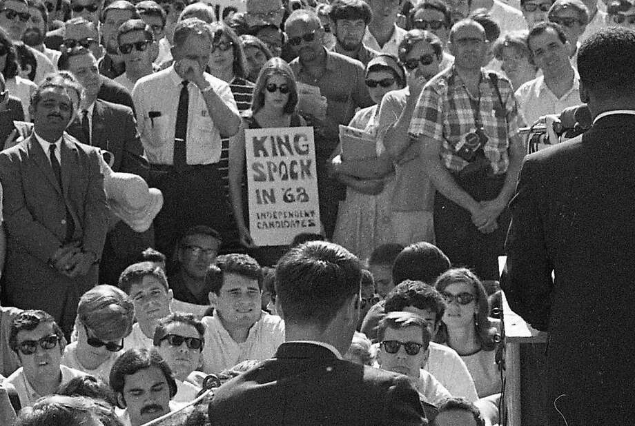 The Rev. Martin Luther King Jr. speaks at UC Berkeley on May 17, 1967. Photo: Art Frisch / The Chronicle 1967