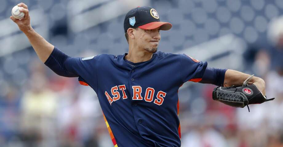 Houston Astros starting pitcher Charlie Morton (50) works in the first inning of a spring training baseball game against the Washington Nationals Tuesday, March 6, 2018, in West Palm Beach, Fla. (AP Photo/John Bazemore) Photo: John Bazemore/Associated Press