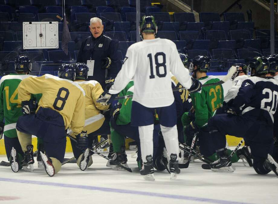 Notre Dame Head Coach Jeff Jackson talks with his team during practice for the NCAA East Regional hockey tournament at the Webster Bank Arena in Bridgeport, Conn. on Thursday, March 22, 2018. Photo: Brian A. Pounds / Hearst Connecticut Media / Connecticut Post