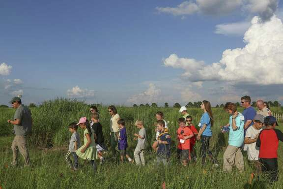 Children enjoy a field trip at the Katy Prairie Conservancy's Indiangrass Preserve in Waller.