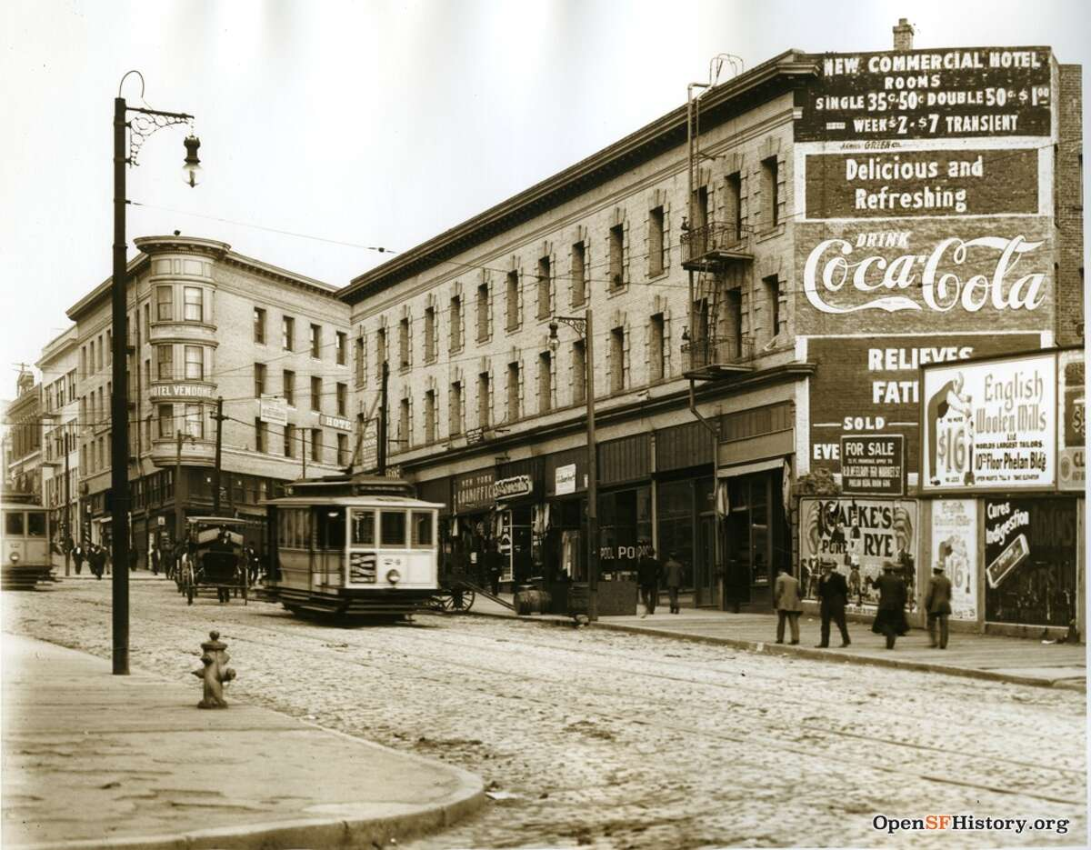 A 1911 street scene on Columbus between Jackson and Pacific in San Francisco.