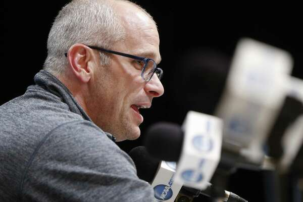 Rhode Island coach Dan Hurley takes questions during a news conference March 16 in Pittsburgh.