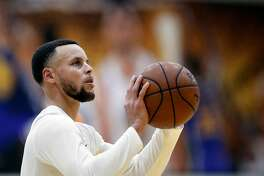 Warriors' Steph Curry during workouts at their practice facility in downtown Oakland, Calif., on Thurs. March 22, 2018.