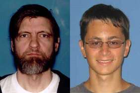 Side by side mugs of Ted Kaczynski (left) and Mark Anthony Conditt