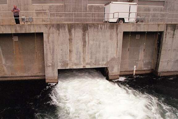 MOCASSIN 5/20SEP97/MN/FRL:  Millions of gallons of San Francisco water flows through the Mocassin Hetch Hetchy power plant.  Chronicle photo by Frederic Larson.