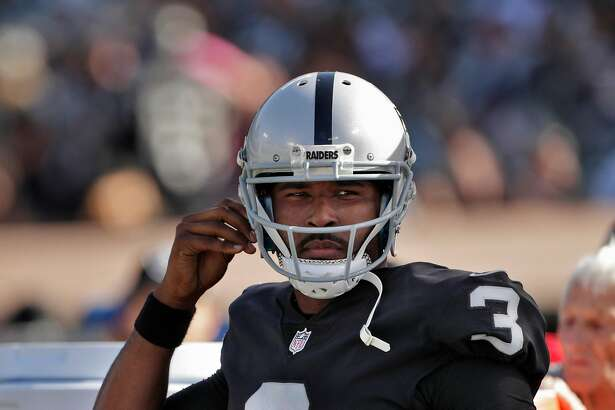 Quarterback EJ Manuel (3) prepares to re-enter the game late in the fourth quarter as the Oakland Raiders played the Baltimore Ravens at the Oakland Coliseum in Oakland, Calif., on Sunday, October 8, 2017.