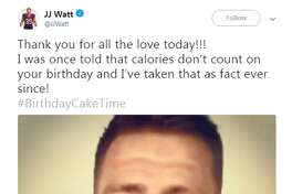 Source: Twitter ( @JJWatt )  J.J. Watt took a moment away from a birthday workout to thank all the fans who wished him a happy birthday on Thursday.   Browse through the photos for a look at the Texans defensive end off the field.