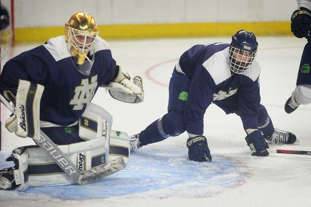 Notre Dame practice at the NCAA East Regional hockey tournament at the Webster Bank Arena in Bridgeport, Conn. on Thursday, March 22, 2018.
