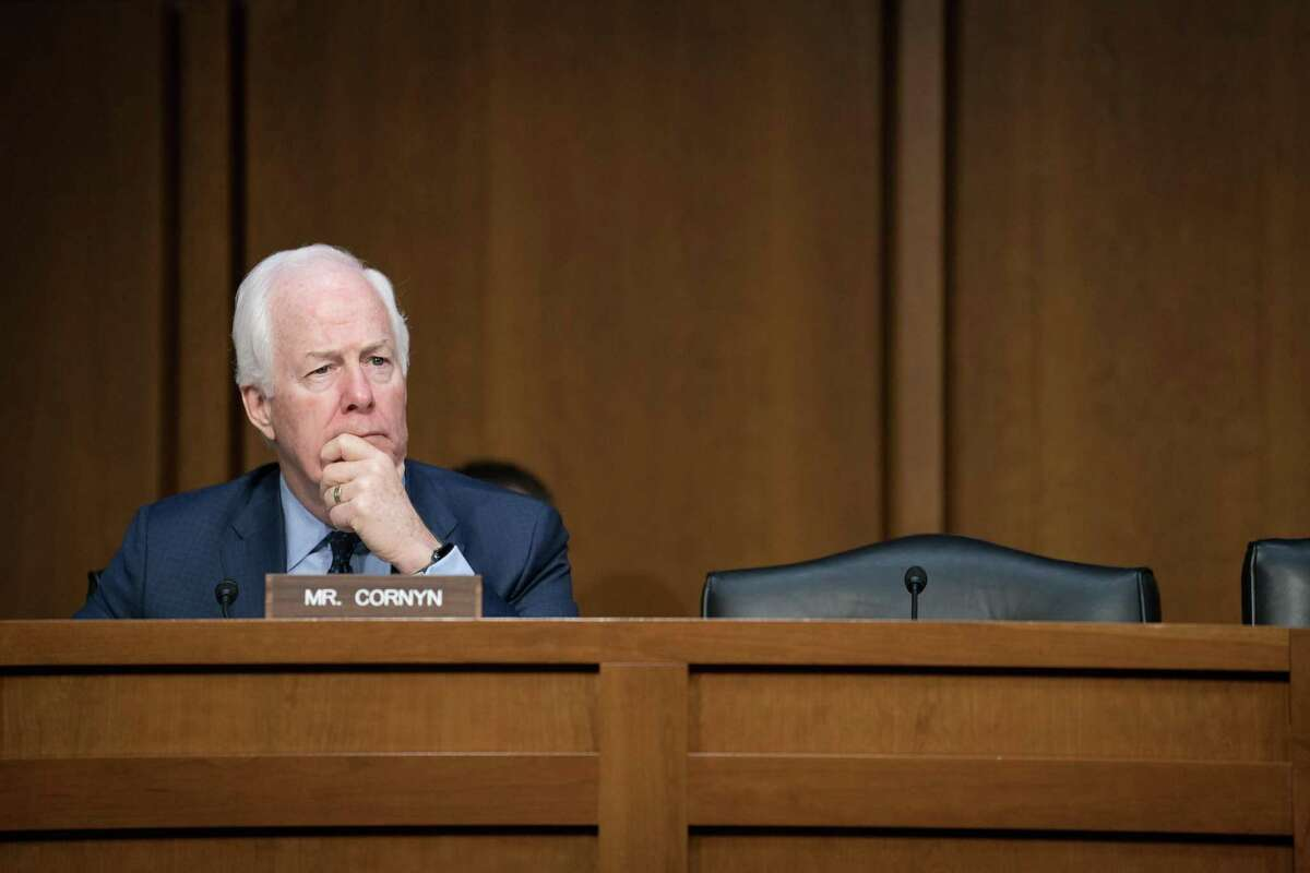 Sen. John Cornyn (R-Texas) participates in a Senate Intelligence Committee hearing on election security, on Capitol Hill in Washington, March 21, 2018. Senators here pressured Kirstjen Nielsen, the secretary of homeland security, to speed up key election security measures as she conceded that several federal priorities were still unmet. (Erin Schaff/The New York Times)
